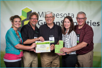 Arlington Team Receives GreenStep Cities Award (l to r): Annie Shotliff, Office Assistant/Community Center Coordinator; Lee Ortloff, Lead  Operator/PeopleService Inc.; Rich Nagel, Mayor; Liza Donabauer, City Administrator and Ben Jaszewski, Council Member.