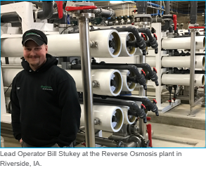 Lead Operator Bill Stukey at the Reverse Osmosis plant in  Riverside, IA.