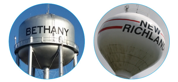 Bethany and New Richland water towers